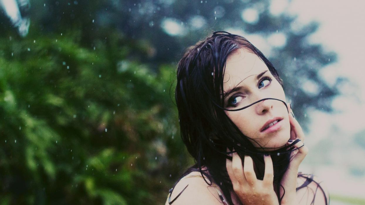 mood rain drops storm women females brunettes babes face eyes wallpaper