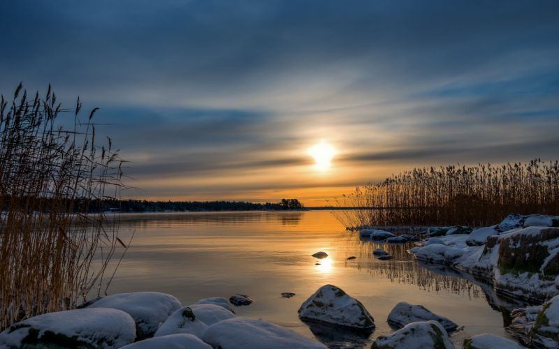 reflection nature landscapes stone rock shore grass reeds sky sunset sunrise winter wallpaper