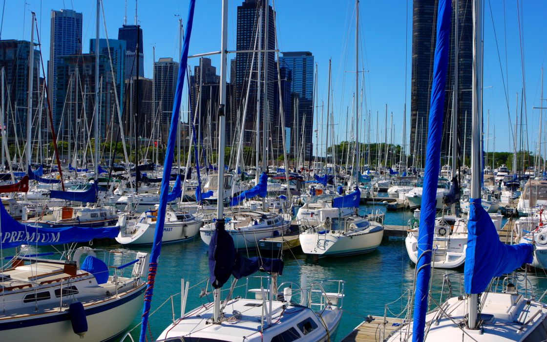 Ships Sailing USA Chicago boats marina cities architecture buildings skyscrapers sailboat wallpaper