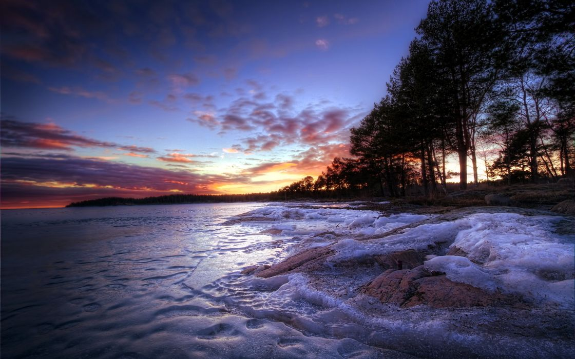 shore beaches nature landscapes ice frozen lakes trees sky clouds sunrise sunset wallpaper