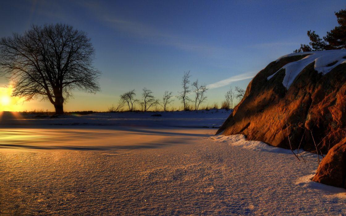 sparkle nature landscapes trees winter snow rock stone sunrise sunset sky hdr wallpaper
