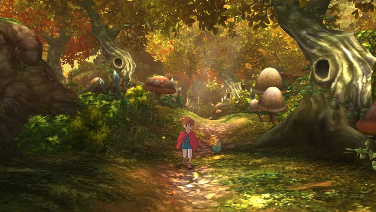 NI NO KUNI WRATH OF THE WHITE WITCH art nature landscapes trees forest woods autumn fall boy path trail video games    g wallpaper