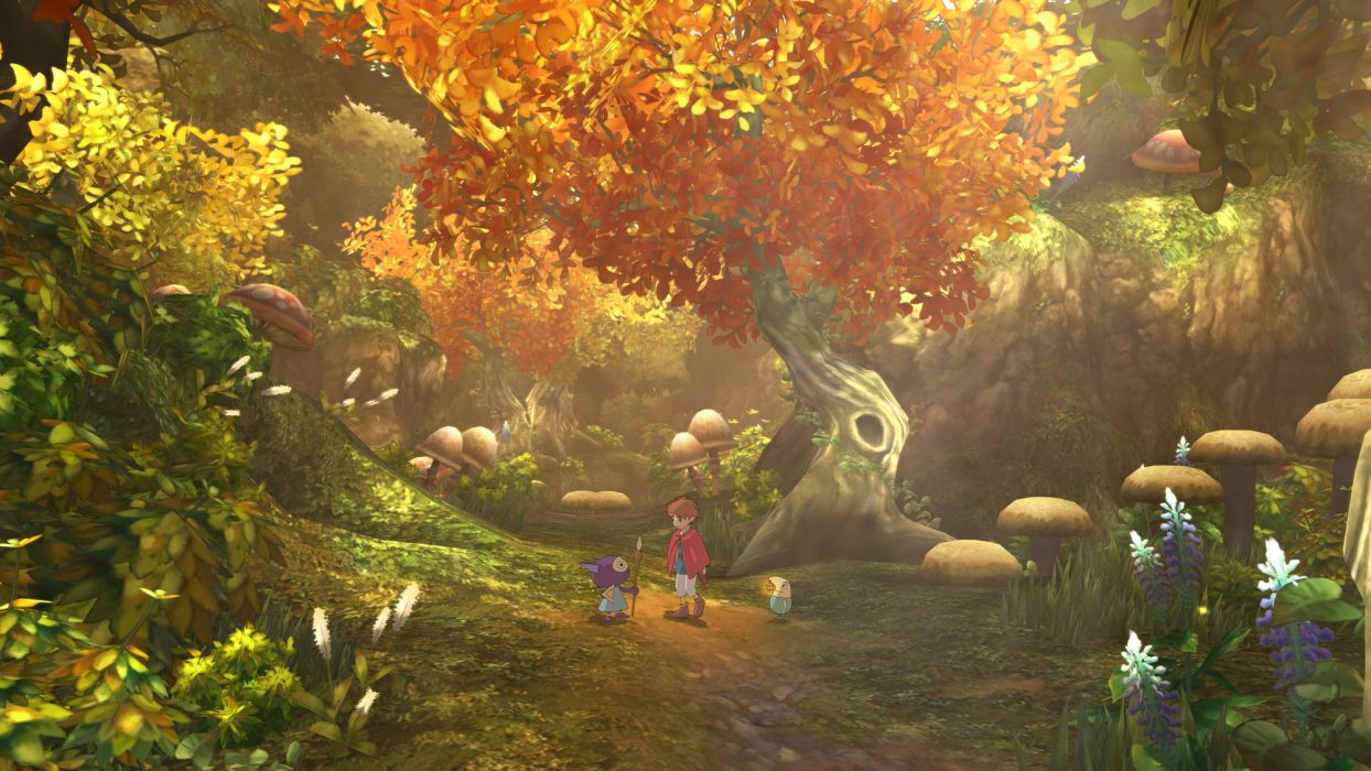 NI NO KUNI WRATH OF THE WHITE WITCH art nature landscapes trees forest woods autumn fall boy path trail video games wallpaper