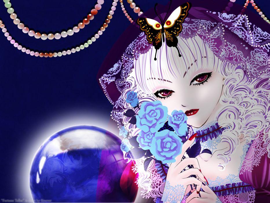 original anime girl flowers face eyes pov babes crystal ball fortune teller wallpaper