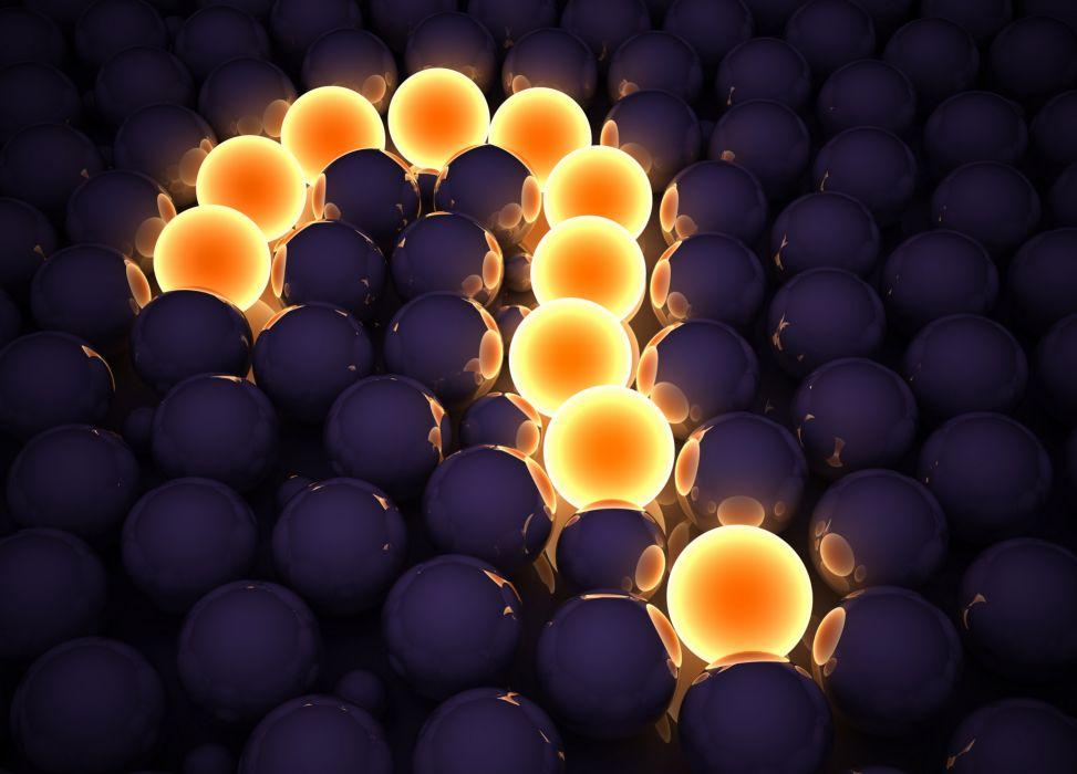 question mark 3d cg digital art globes sphere pattern texture lights glow wallpaper
