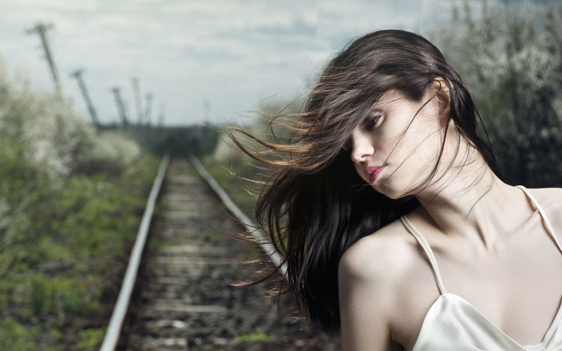 Anya railroad track train women models brunettes sexy babes mood wallpaper