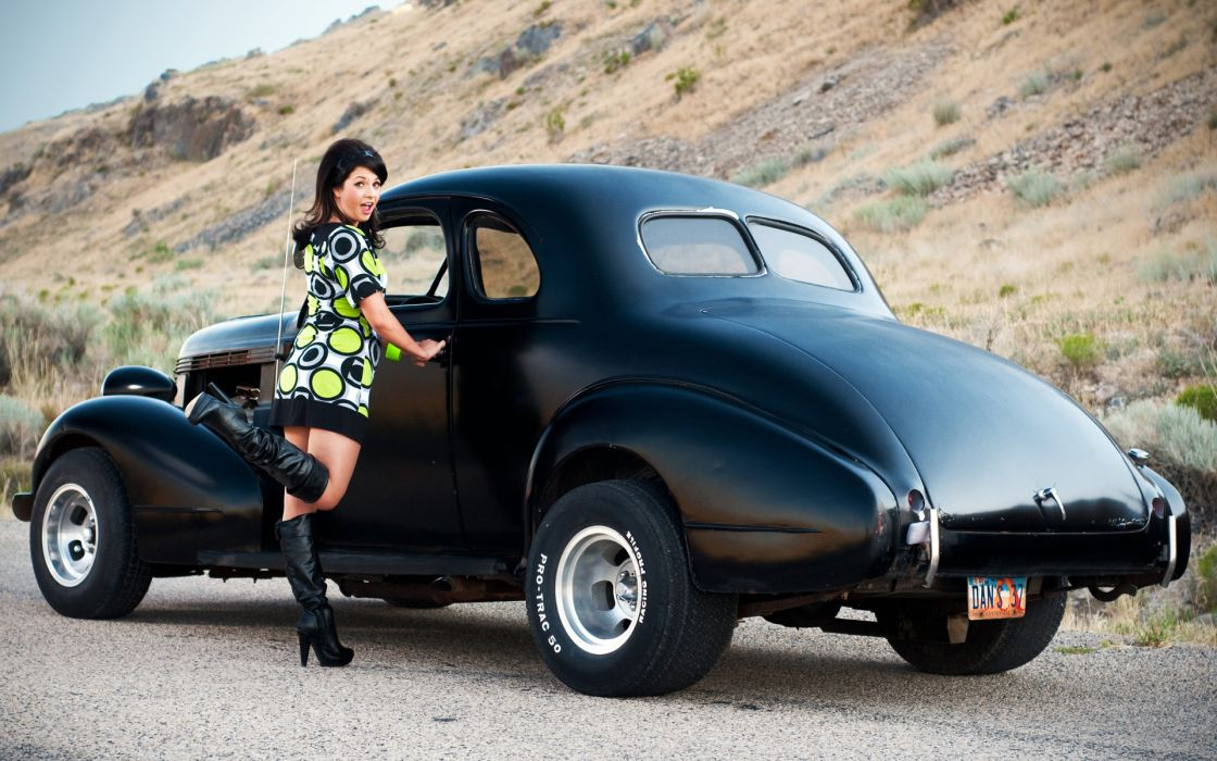 Pin Up Girl women females brunettes sexy babes vehicles cars hot rods retro wallpaper