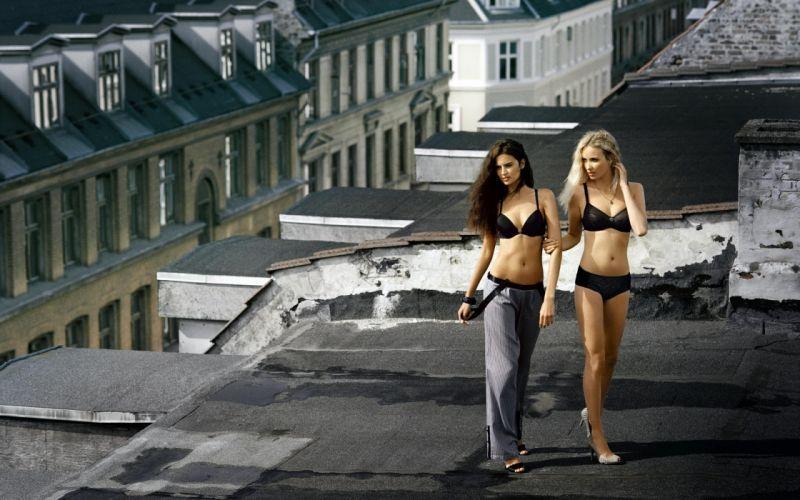 underwear lingeries women fashion models glamour blondes brunettes sexy babes wallpaper