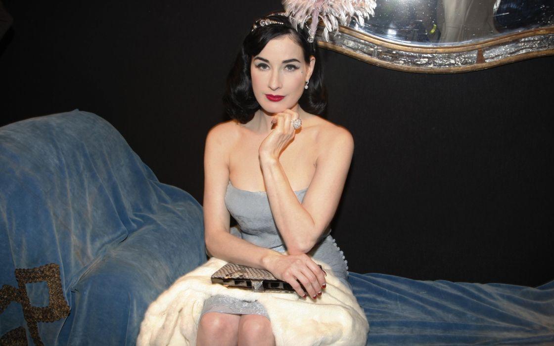 Dita von Teese burlesque dancer model costume designer actress glam women sexy babes females        r wallpaper