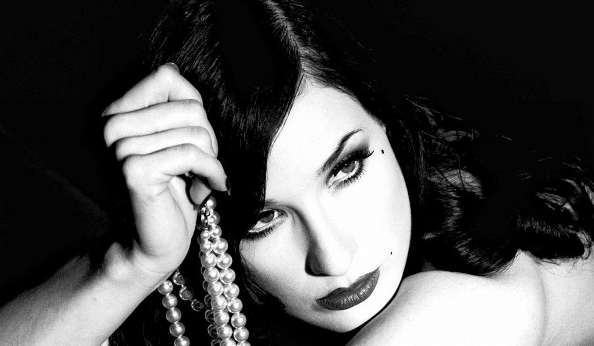 Dita von Teese burlesque dancer model costume designer actress glam women sexy babes females black white     e wallpaper