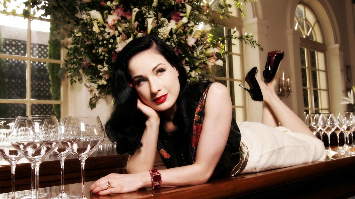 Dita von Teese burlesque dancer model costume designer actress glam women sexy babes females        s wallpaper