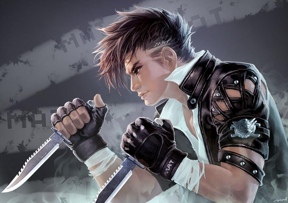 original anime people boy men males warrior fight weapons knife wallpaper