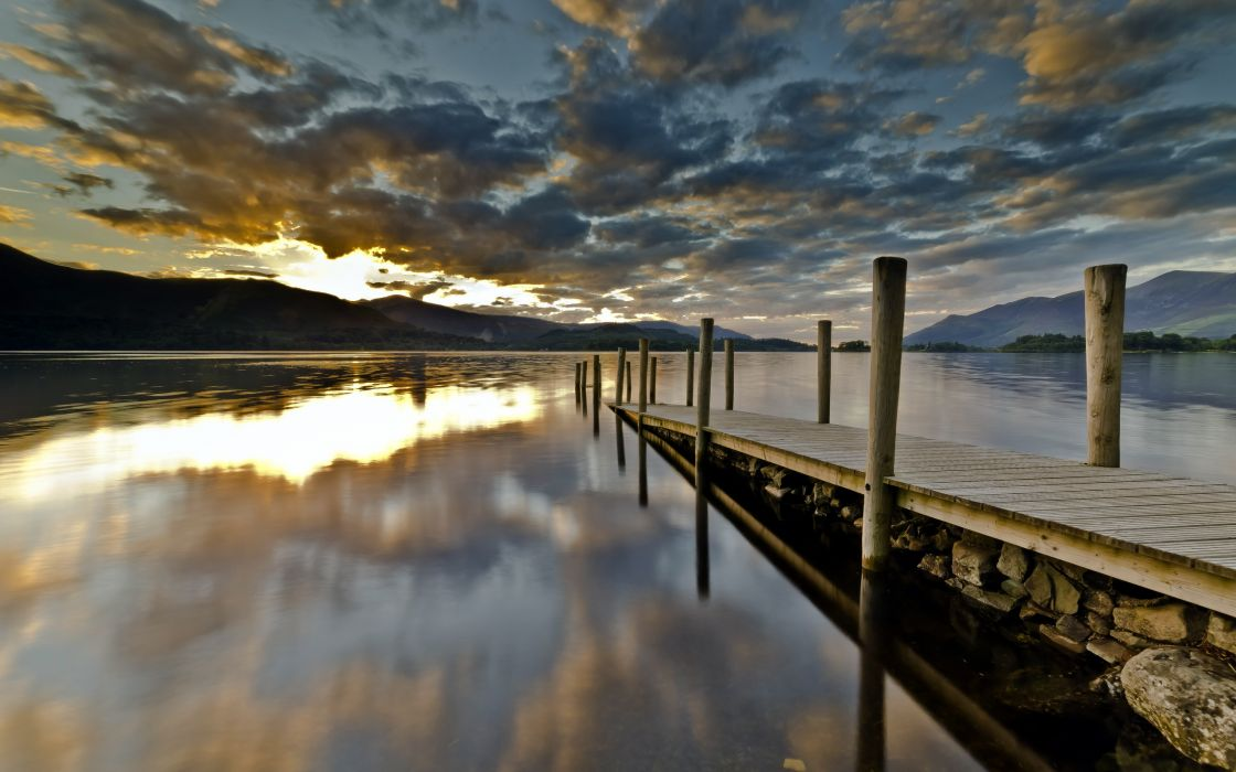 reflection nature lakes landscapes dock mountains sky clouds sunset sunrise wallpaper