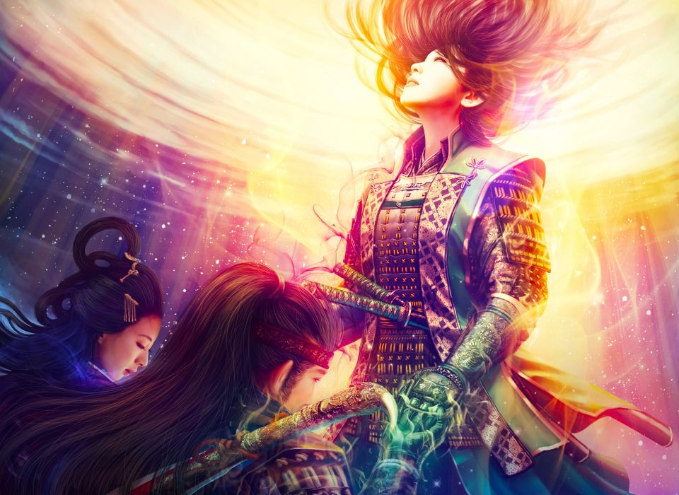 samurai armor swords magic star warriors asian oriental katana swords weapons fantasy art men males women females girls sexy babes fire rapture wallpaper