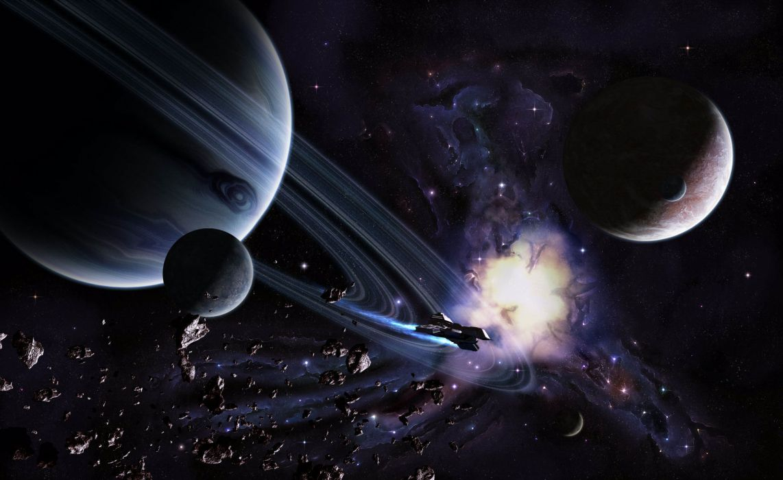 sci-fi space planets asteroid nebula spaceship spacecraft wallpaper