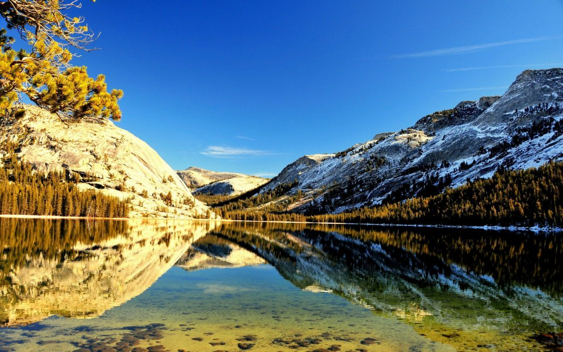 snow nature landscapes lakes reflection water trees forest woods mountains sky wallpaper