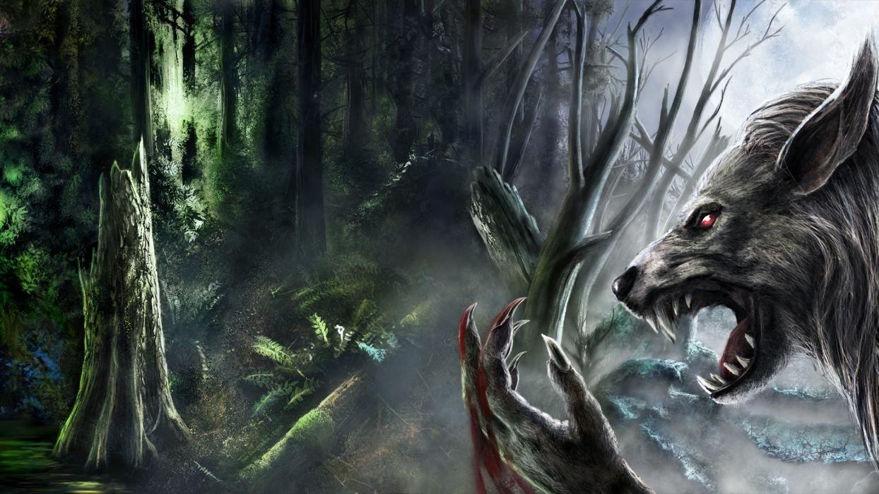 werewolf fantasy art dark monster creatures blood fangs trees forest spooky creepy scary evil wallpaper