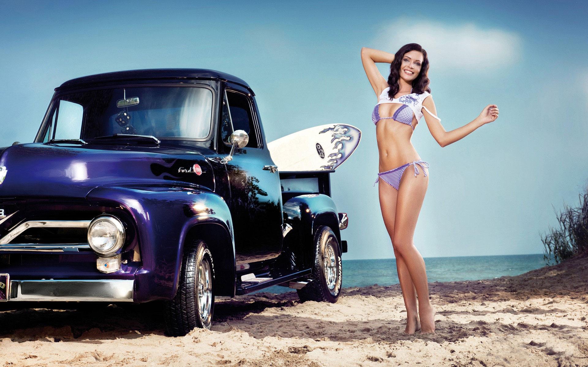 Vehicles girls bikini brunette truck cars wallpaper ...