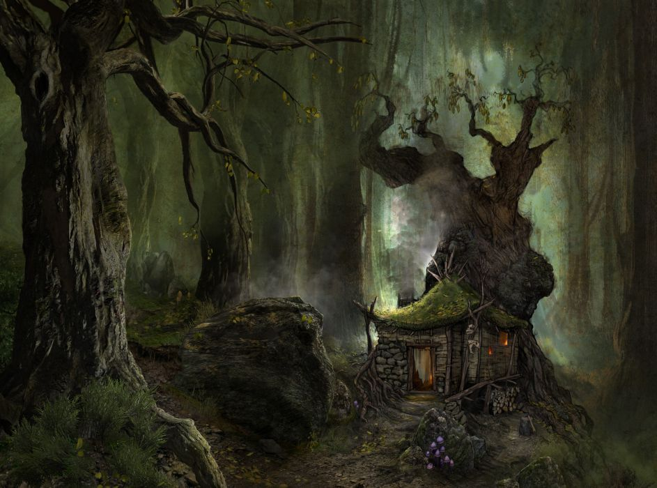 ArcaniA Gothic 4 fantasy art landscapes forest trees wods paintings architecture buildings houses path trail wallpaper