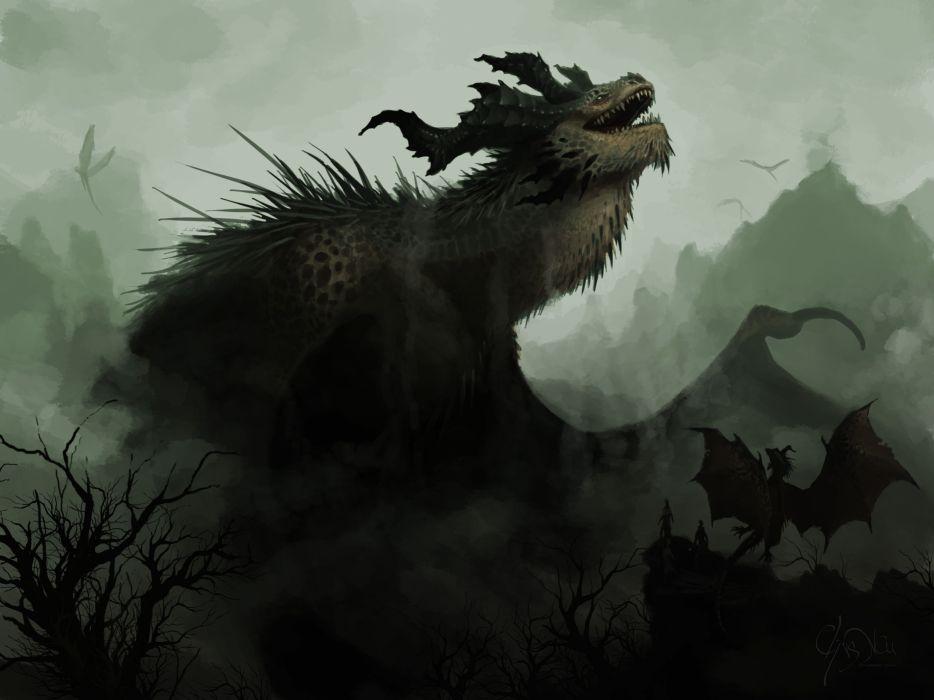 art fantasy dragons wallpaper