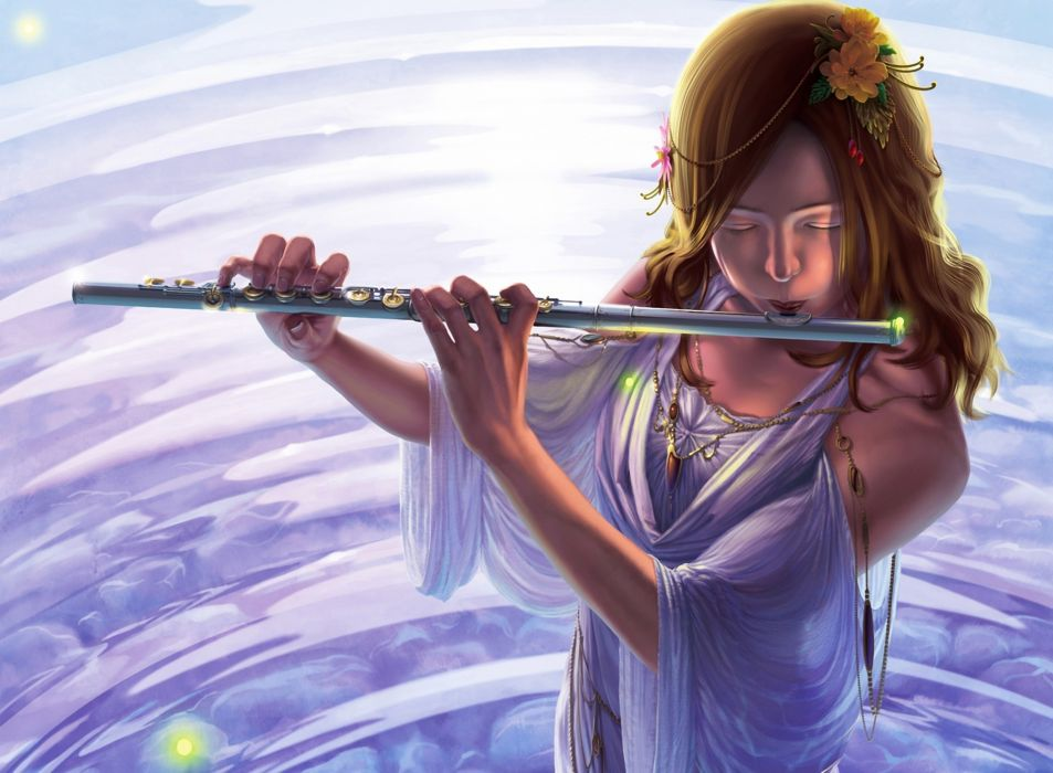 Art reishin girl water musical instruments flowers clothes jewelry women females girls fantasy wallpaper