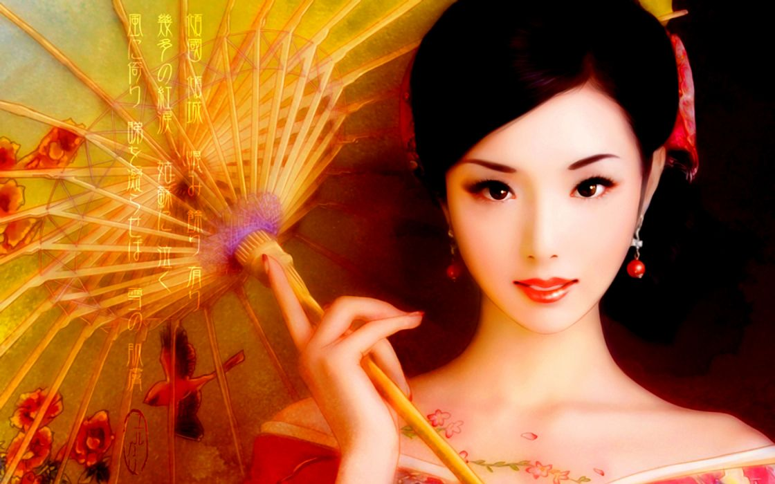 asian oriental kimona umrella fantasy women brunettes babes wallpaper