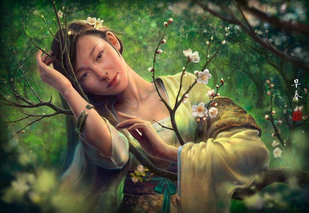 asian oriental fantasy art women females face eyes pov trees blossoms flowers forest mood wallpaper