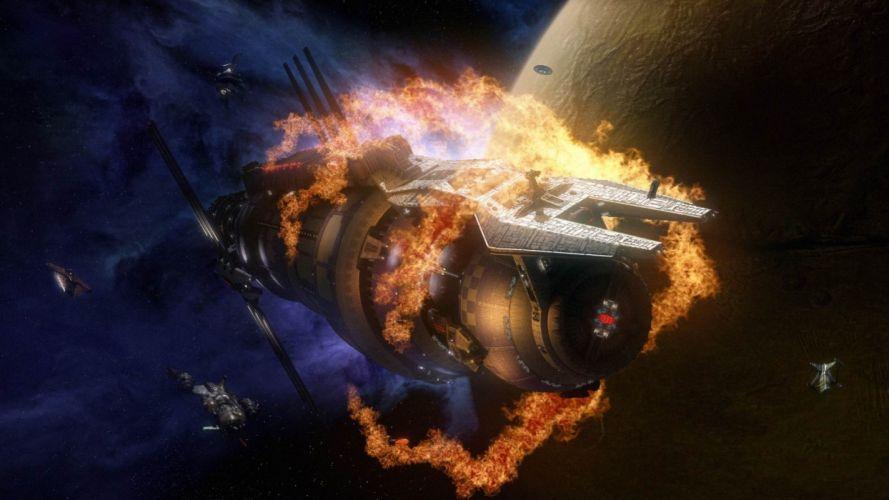 Babylon 5 television tv series sci-fi space spaceship spacecraft explosion fire futuristic stars wallpaper