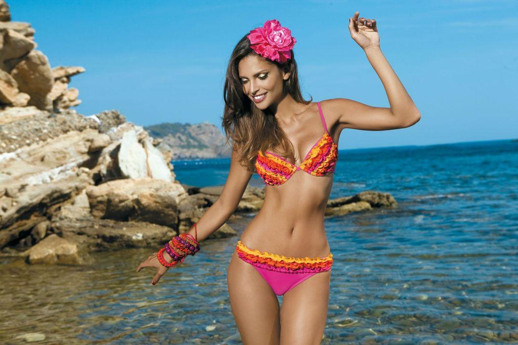 Camila Morais Brazilian Lingerie Model women females brunettes sexy babe swimwear bikini       y wallpaper