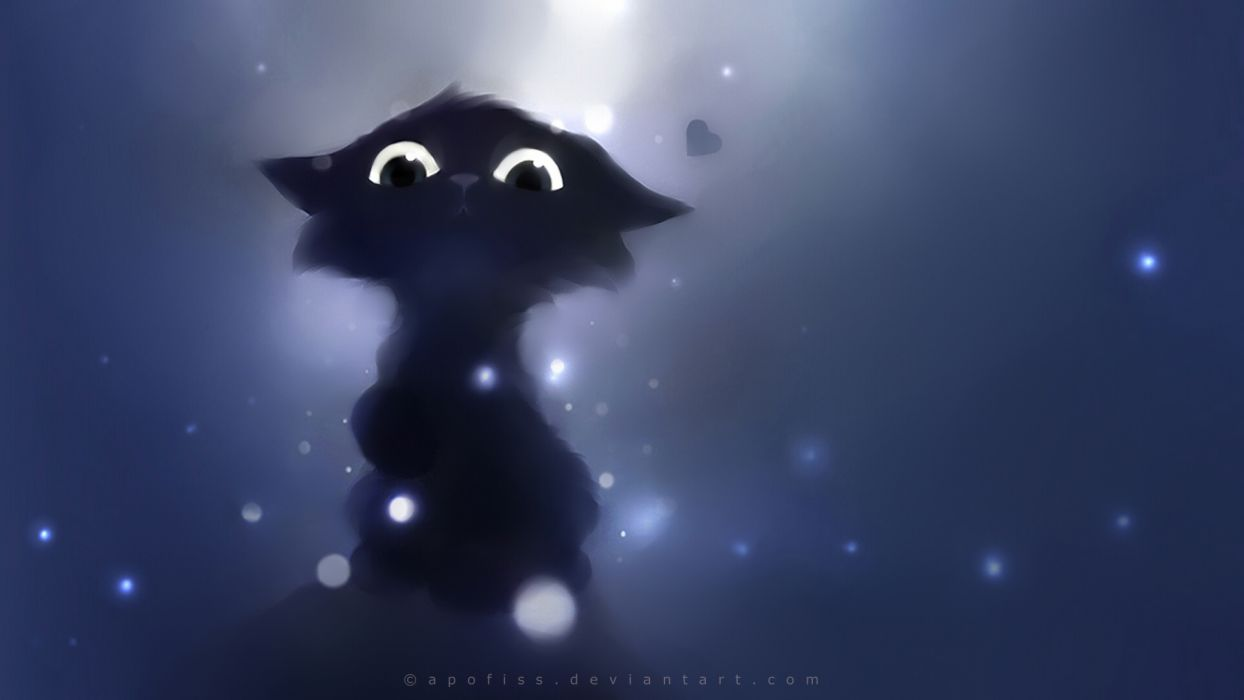 cartoon cute animals fantasy eyes pov apofiss cats kittens wallpaper