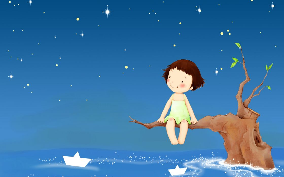cartoon vector art girl ocean sea night mood trees boats sky stars cute wallpaper