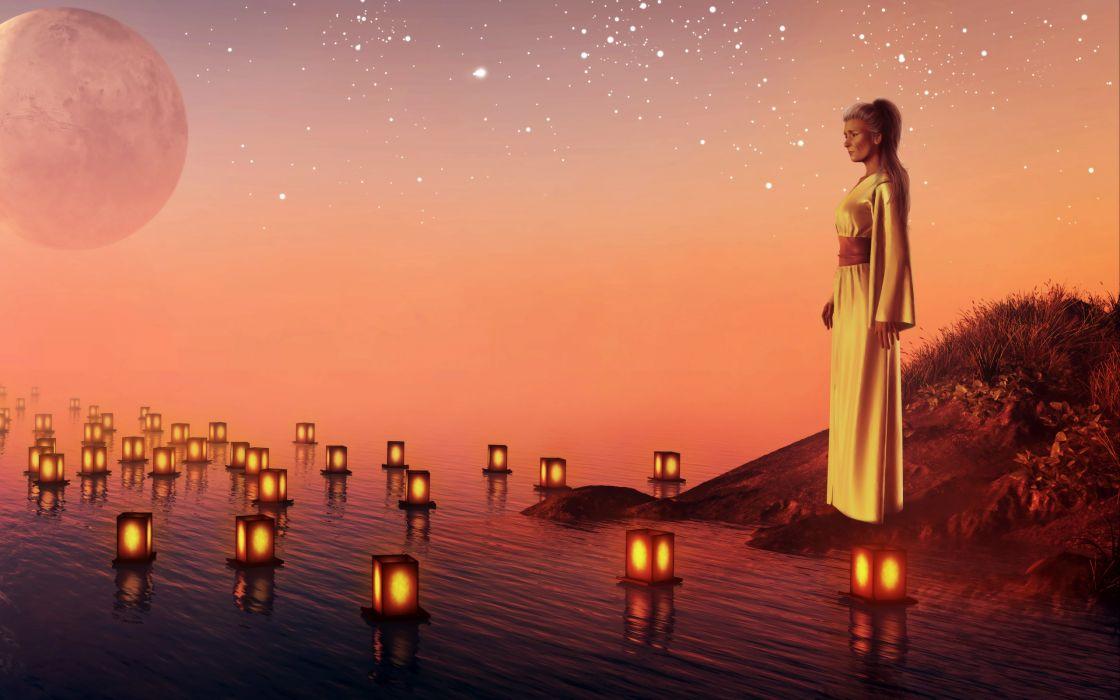 cg digital art 3d fantasy women females asian oriental lantern lamp candles lights mood wallpaper