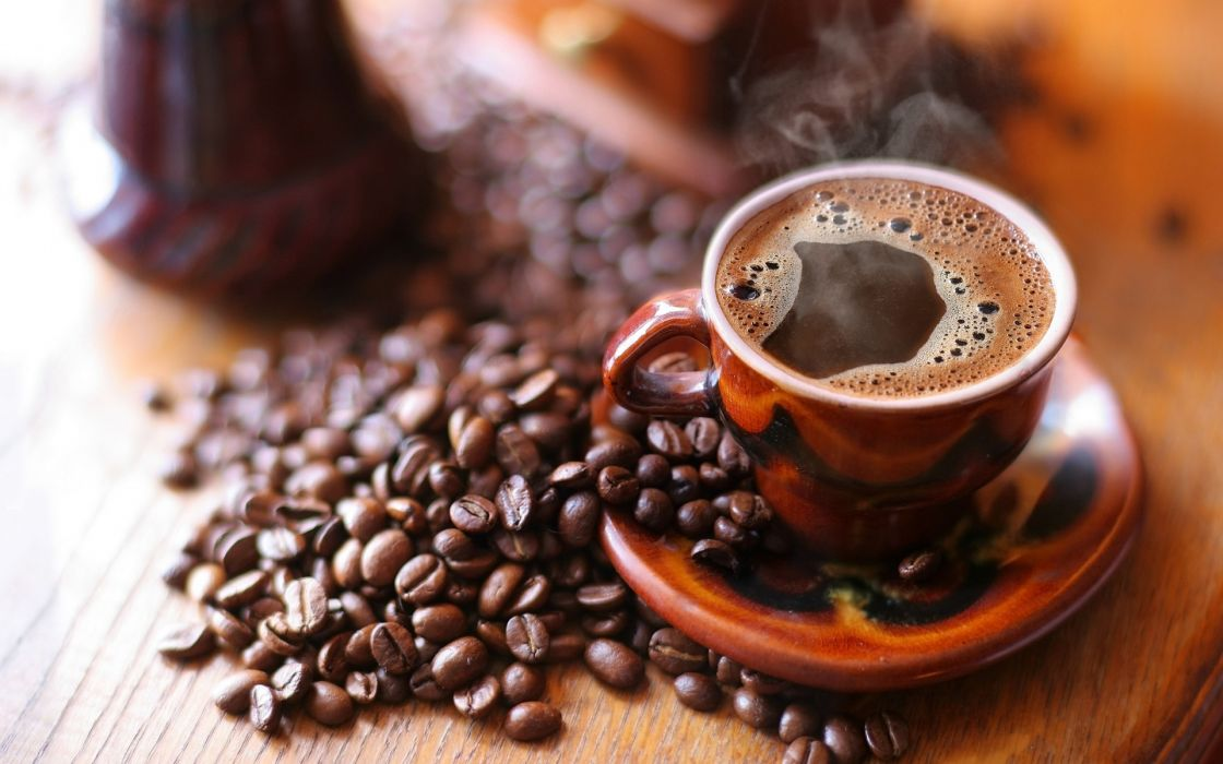 coffee beans cup steam drinks bubbles wallpaper