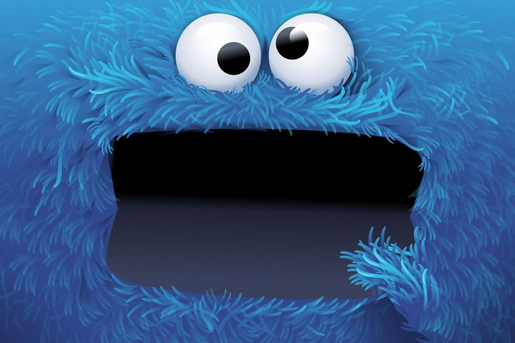 Cookie Monster cartoon sesame street television puppets eyes wallpaper