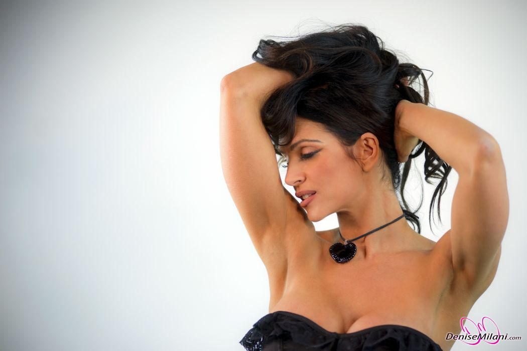 Denise Milani adult women models brunettes sexy babes cleavage females     v wallpaper