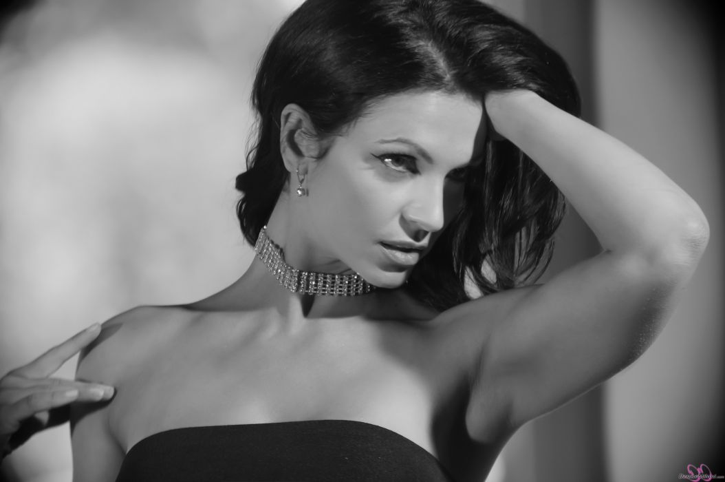 Denise Milani adult women models brunettes sexy babes cleavage females black white wallpaper