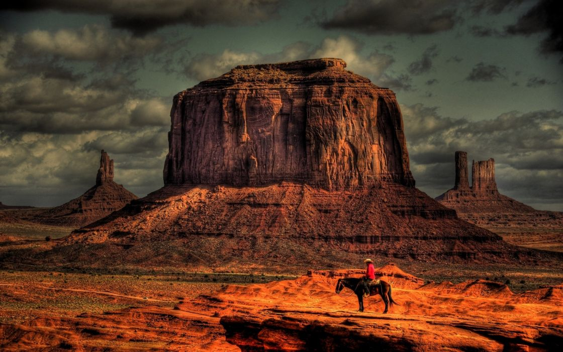 cowboy rustic people men males mood nature landscapes mountains canyon desert sky clouds wallpaper