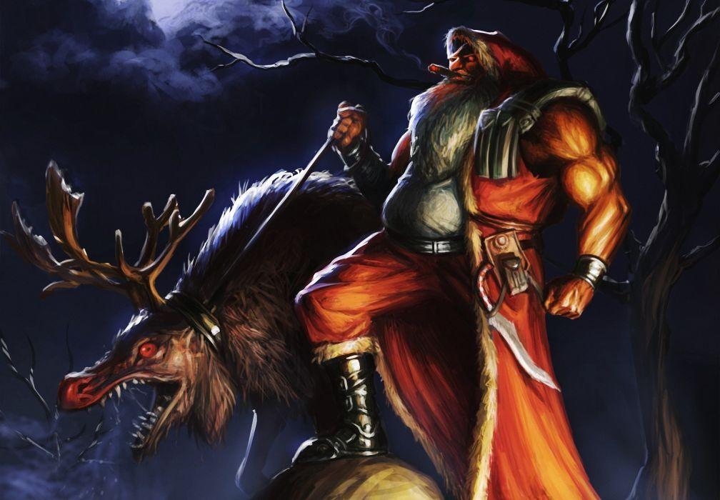 dark christmas santa monster creature deer wallpaper