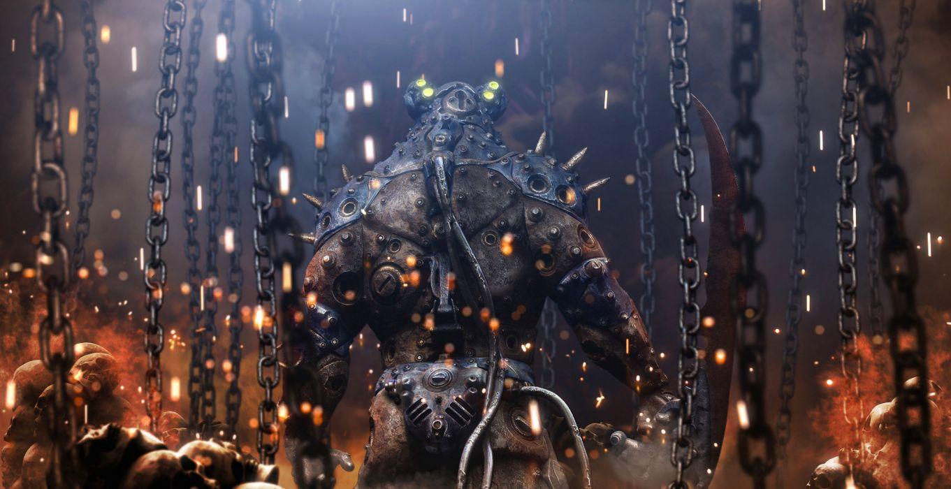 dark sci-fi warrior chains sparks fire monsters creature robot futuristic wallpaper
