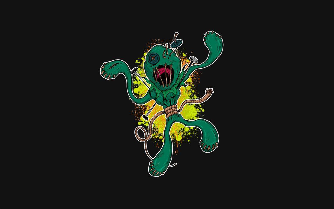 dark zombie voodoo dolls evil cartoon halloween wallpaper