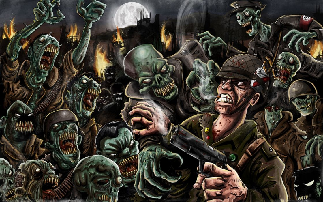 dark zombies blood horror monsters creatures scary soldiers warriors wallpaper