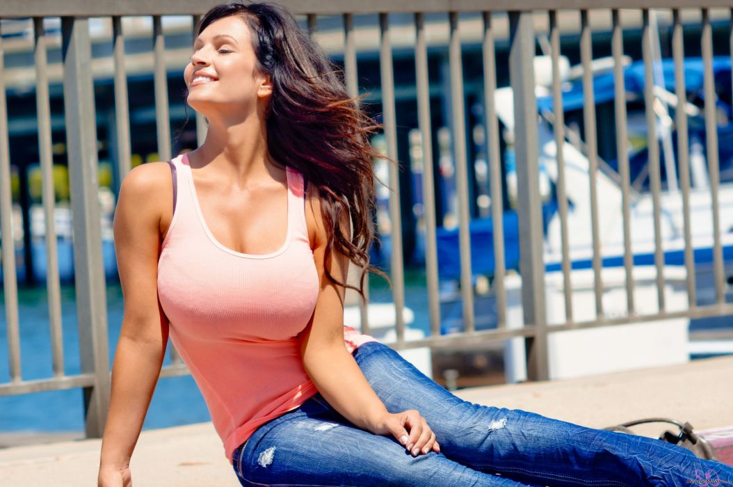 Denise Milani adult women models brunettes sexy babes cleavage females          e wallpaper