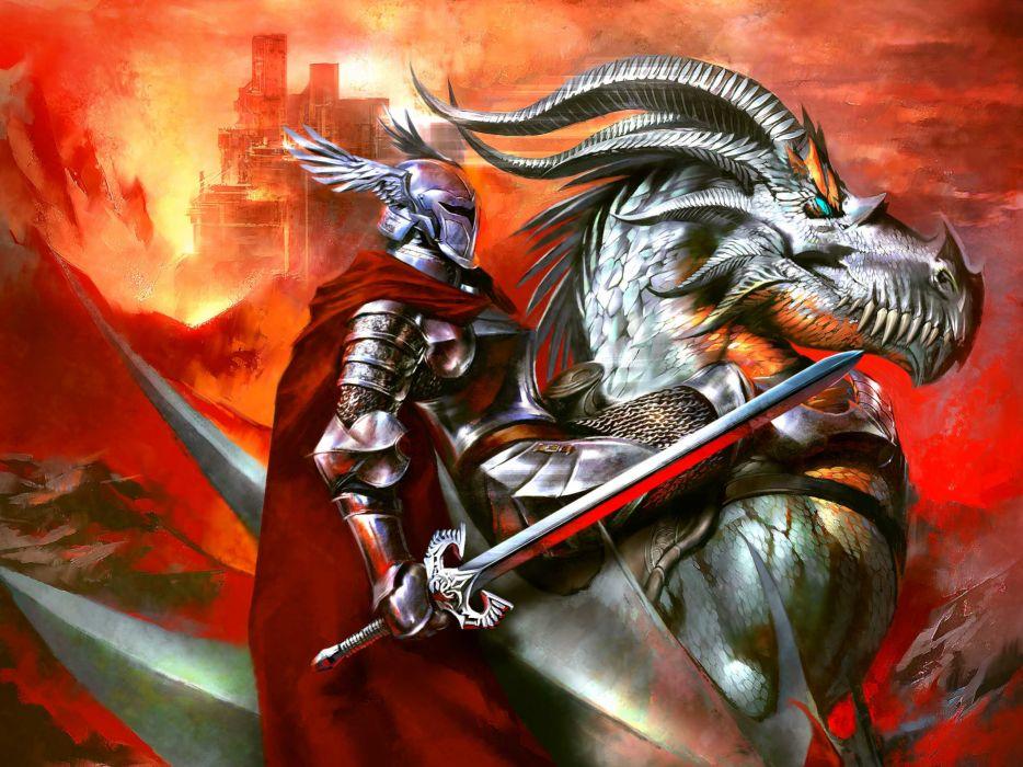 Dragonlance comics fantasy art dragon warrior knight armor wallpaper