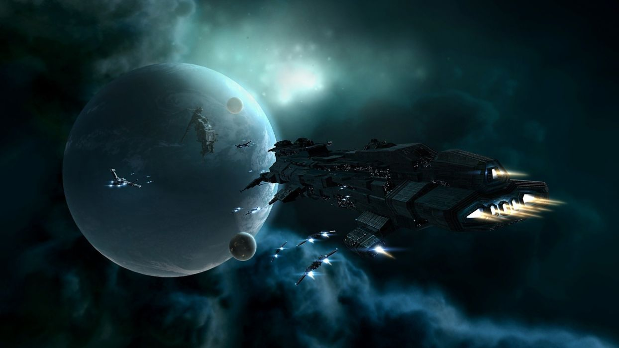 Eve Online sci-fi space futuristic spaceship spacecraft planets moon stars wallpaper