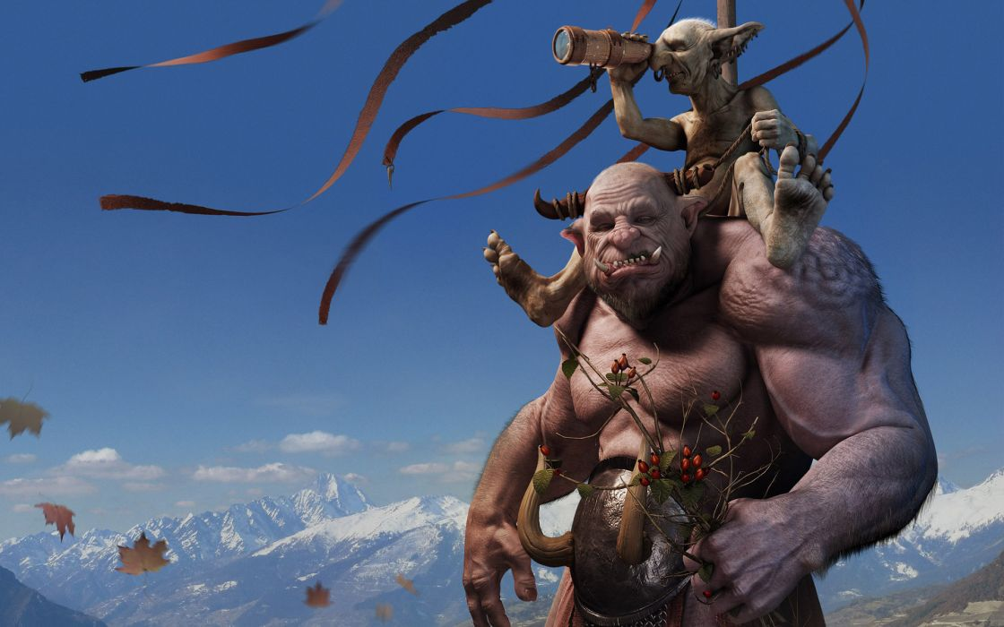 fantasy art ogre creatures monsters face eyes pov cartoon wallpaper