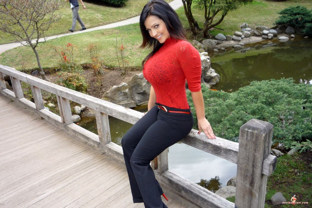 Denise Milani adult women models brunettes sexy babes cleavage females face eyes pov          w wallpaper