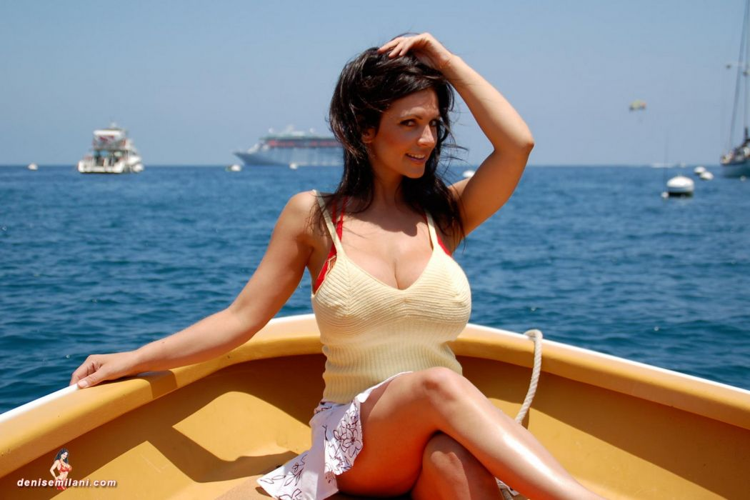 Denise Milani adult women models brunettes sexy babes cleavage females face eyes pov        r wallpaper