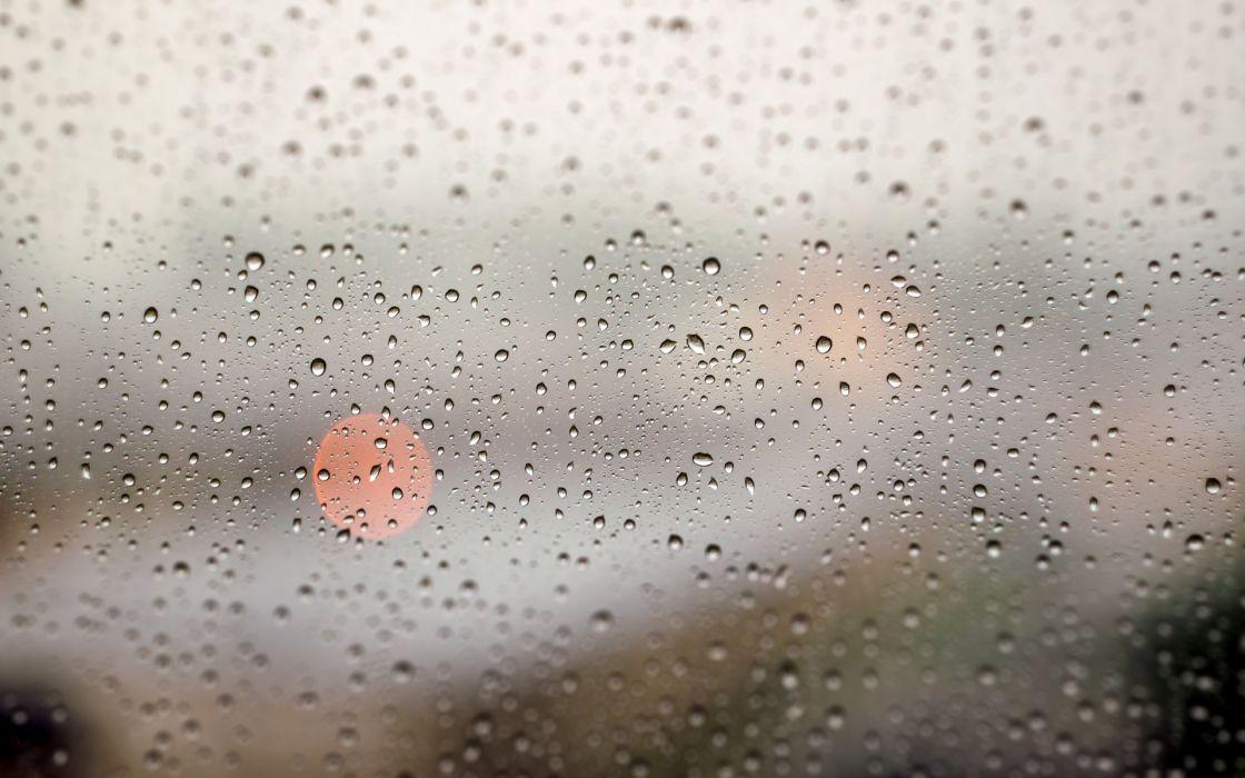 glass window rain storm drops lights water wallpaper