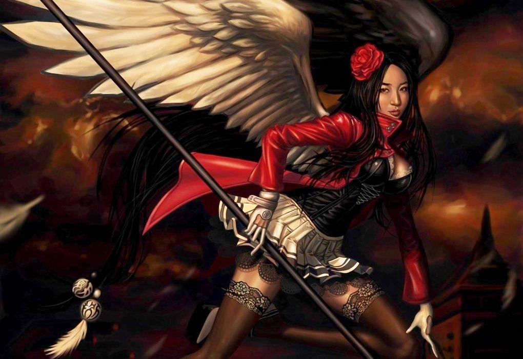 gothic angel wings girl fantasy dark stockings weapons asian orienatl women females girls brunettes wallpaper
