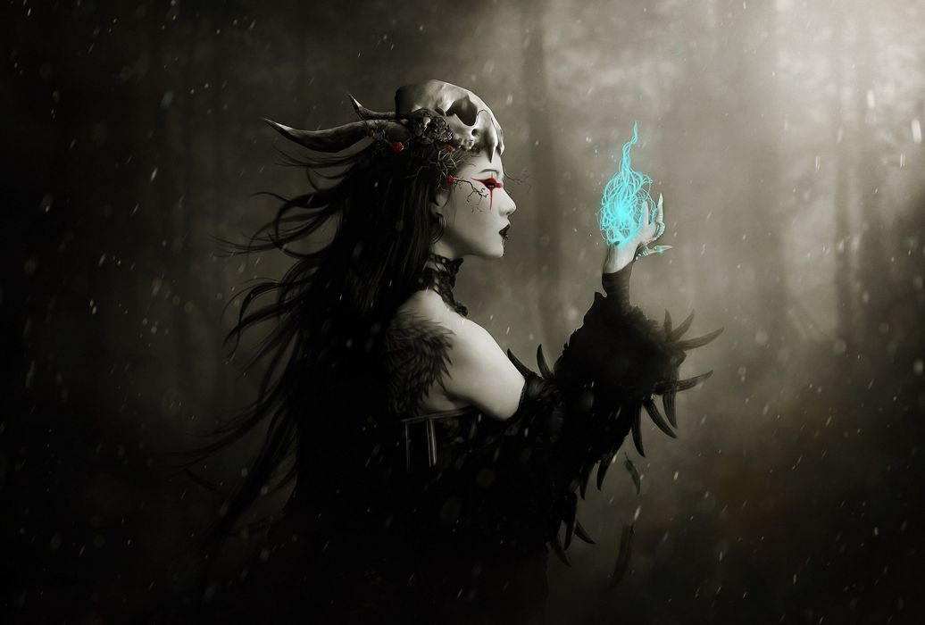 gothic dark fantasy art witch magic spell occult skull women females mood winter snow flakes drops trees forest woods spooky scary evil wallpaper